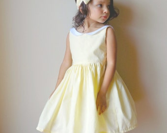 Light Yellow Girls  Dress, Pastel Yellow Girls Dress, Girls Vintage Inspired Dress, Baby Light Blue Dress, Toddler Light Pink Dress