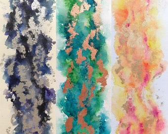 Abstract Watercolor   12x4 Canvas
