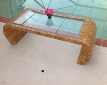 "WOVEN RATTAN SCROLL Coffee Table / 51"" Long Vintage Rattan Scroll Coffee Table Palm Beach Island Style / Mid Century Style Retro Daisy Girl"