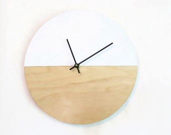 Large Wooden Wall Clock, Faux White Leather,  Vegan Leather, Unique Wall Clock, Home and Living, Clocks