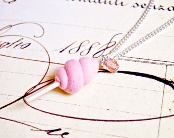 Handmade miniature peach candy floss necklace - miniature food jewelry, candy floss necklace, cotton candy necklace