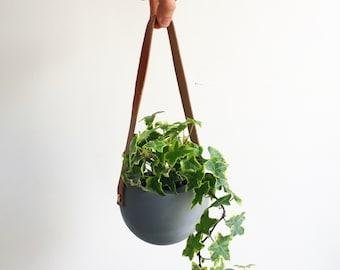 Grey Orbis Hanging Planter