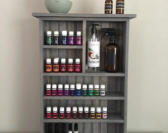Essential Oil Wall Shelf, Essential Oil Storage, Wall Shelf, Bathroom Shelf, Grey Essential Oil Cabinet