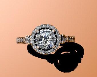 Platinum Engagement Ring Forever One Moissanite Wedding Ring Diamond Engagement Ring with 6.5mm Round F1 Moissanite Center Bridal - V1023M