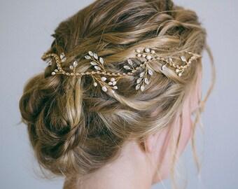 Bridal headband, Bridal hair vine, Gold hair vine, Gold headband, Crystal hair vine, Bridal hair accessories