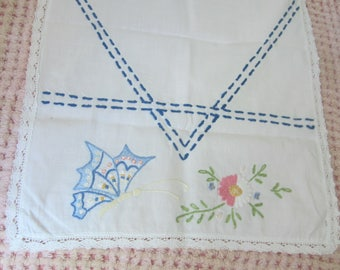 Embroidered Dresser Scarf Butterflies and Flowers Buffet Cover Vintage Linens