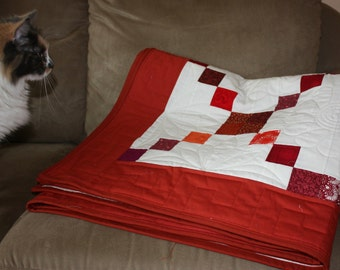 Red Quilt, Red and White Twin Quilt, Full Quilt, Q027-Red Cross