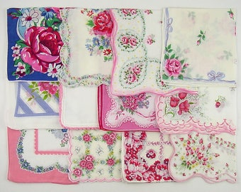 Vintage Hanky Lot,Vintage Lot of Handkerchiefs,Vintage Hanky Lot of One Dozen Assorted Pink Vintage Hankies Handkerchiefs (Lot #B14)