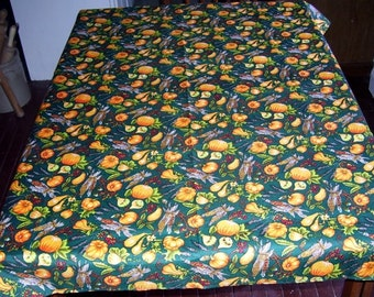 Fall Tablecloth Pumpkins, Squash, Corn,  54x41, Kitchen Table Cover, Home Decor, Fall Decorating, All cotton, Made in U.S.A. Cottage Chic
