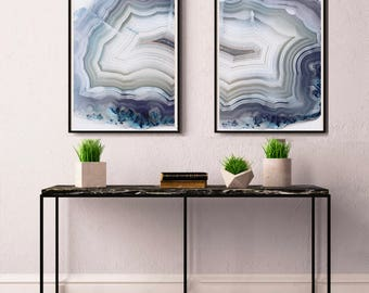 Set of 2 Agate Prints  - Prints (Print #090 & 091) - Fine Art Print - Two Paper Choices- Mineral Geode Agate Crystal Decor
