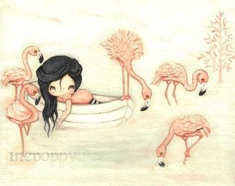 Flamingo Print Pink Nautical Girl in Boat Cute Bird Nursery Childrens Wall Art