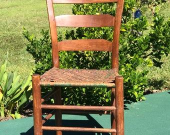 Antique Splint Seat Chair, Rabbit Ear Chair, Circa 1800s, Hand Made Chair, Primitive Chair, Ladder Back Chair
