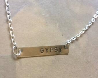 GYPSY bar Necklace - handstamped