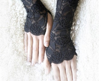 black lace gloves on sale, black lace mittens , black cuffs free shipping lace gloves 30% off
