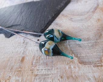 Lampwork headpins, tribal, green, blue, beige, handmade lampwork, handmade.