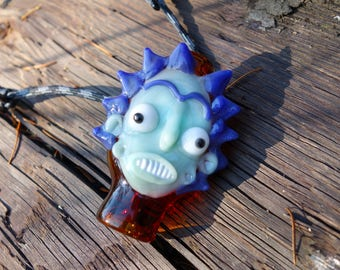 Blown Glass Rick Pendant -  Rick and Morty Serie Jewelry - Psychedelic Sculpted Funny Face - Handmade Jewelry