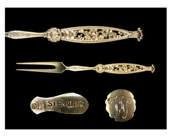 Antique Sterling Silver Gold Washed Pierced Floral Whiting Berry Fork