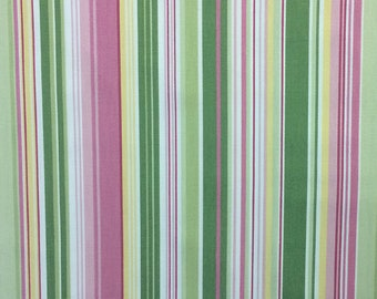Pink and Green Variegated Stripe - Home Decor Cotton Fabric - 1/2 yard