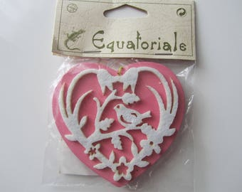 Heart felt and wood - double-sided - brand Equatorial - Rose and ecru