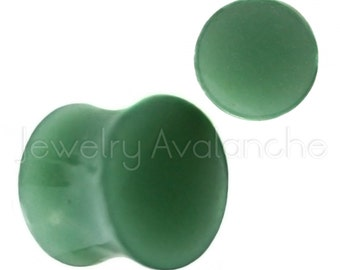 Jade Stone Ear Plugs, Stone Ear Gauges, Shiny Glossy Texture Double Flare Jade Stone Ear Plugs, Hypoallergenic Organic Plugs BDJ0294