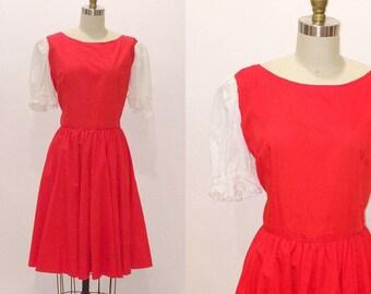 Vintage 60s Rockabilly Pinup Dress | Lolita | Eyelet Sleeves | Medium - Large