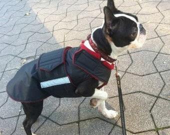 Boston Terrier Dog Raincoat - Dog Jacket with underbelly protection - Custom Made Dog Coat - Waterproof Dog Rain Coat - MADE TO ORDER