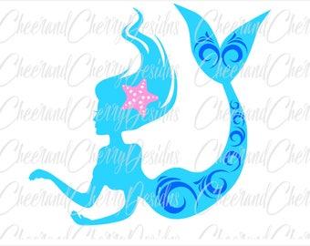 Mermaid svg Mermaid cut file Mermaid DXF Mermaid vinyl Mermaid Cricut Mermaid Silhouette svg ocean svg beach svg Ariel svg Mermaid cameo