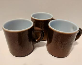 Brown milk glass mugs set of 3