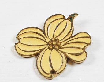 Vintage Enamel Pale Yellow and Gold Tone Flower Brooch Signed PL