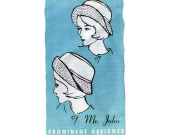 des années 60 non-coupe chapellerie motif M. John chapeau motif Bob motif correspondance modèle une taille importante Designer M464