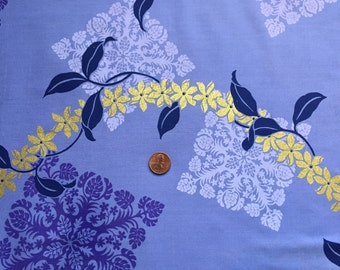 """Vintage, Cotton Fabric, Remnant, Hawaiian Purple with Golden accents,  22"""" x 22"""""""