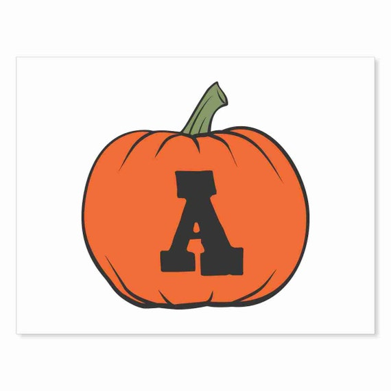 Printable Digital Download DIY - Fall Art Monogram Pumpkin - rOund A - Print frame or cut out for seasonal Halloween decorating orange black