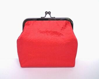 Clutch Bag, Kisslock Purse, Frame Purse, Evening Bag, Wedding Bag, Bridesmaid Clutch, Red Fabric Purse, Black Nickel Frame, UK Seller