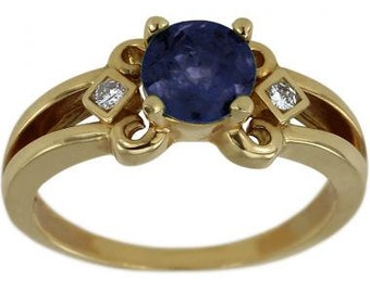 Blue Sapphire Engagement Ring, Unique Engagement Ring, Art Nouveau Jewelry, Art Deco Ring, Vintage Diamond Ring, Solid 14K Yellow Gold Rings
