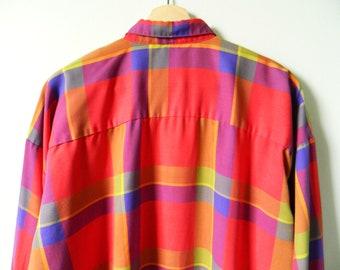 Plaid Button Down Blouse / Vintage Dolman Sleeve Blouse / 80s Oversized Plaid Shirt / Bold Plaid Blouse
