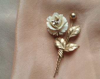 BEAUTIFUL Gold Filled Pin w/ Carved Rose & Butterfly VINTAGE