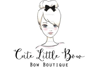 Cute Little Bow  OOAK Character Illustrated Premade Logo design-Will not be resold