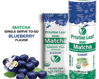 Pristine Leaf Organic Matcha Blueberry - 12 Single Servings Anytime Anywhere To Go!