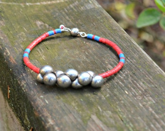 Handmade Bracelet made from recycled African vinyl record beads and Czech glass mushroom beads red blue and silver handmade jewelry gift