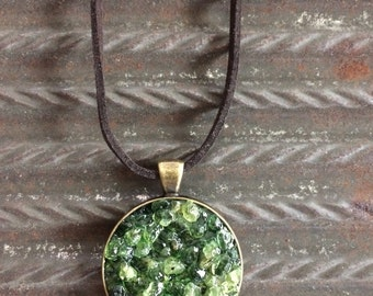 Peridot Pendant Necklace on Suede Cord