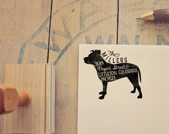 Pit Bull Return Address Stamp, Housewarming & Dog Lover Gift, Personalized Rubber Stamp, Wood Handle, Pitbull Stamp