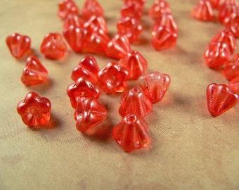 Tangerine Czech Glass Baby Bell Flower Beads Orange Sherbert Satin 4x6mm  (25)
