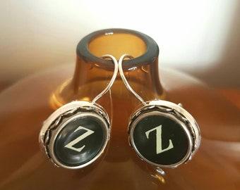 Antique typewriter earrings /vintage twin Z typewriter key earrings /snooze zzz / silvertone leverback earwires