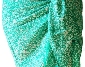 Beach Sarong Skirt Women's Clothing Short Batik Sarong Wrap Skirt Aqua Chiffon Scarf Surfers Gift Beach Cover Up - Lovely Gift for Her!