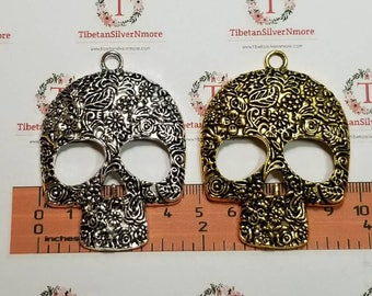 2 pcs per pack 54mm Extra Large Flower Textured Sugar Skull Pendant Antique Silver or Gold Lead free Pewter.