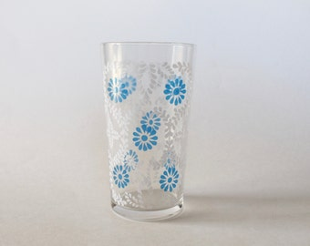 Vintage 1950s Blue and White Floral Patterned Drinking Glass