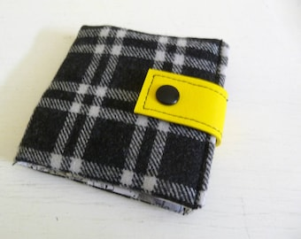 Black Plaid Wool Wallet with Yellow Vinyl Accent, small snap wallet six card slots
