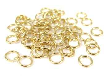 Gold Plated 8mm Round Jump Rings - 12 grams (approximately 55x) (17 gauge) K856-B