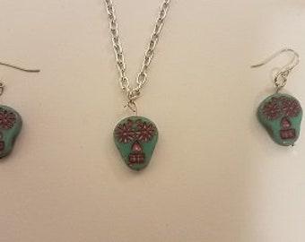 Turquoise And Purple Sugar Skulls Turquoise Earrings Jewelry   / Handmade Jewelry