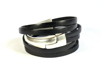 Black leather strap and half silver Bangle with magnetic clasp - leather bracelet handmade woman